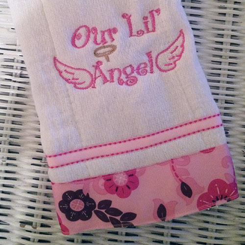 our lil angel burp cloth fabricality. Black Bedroom Furniture Sets. Home Design Ideas